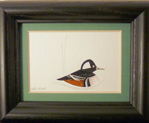 Quilled,Little,One,Hooded,Merganzer,Bookcase,Art,quilling,quilled,wildlife,bird,heron,wall art,bookcase art,framed