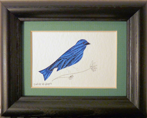 Quilled,Little,One,Indigo,Bunting,Bookcase,Art,quilling,quilled,wildlife,bird,indigo bunting,wall art,bookcase art,framed