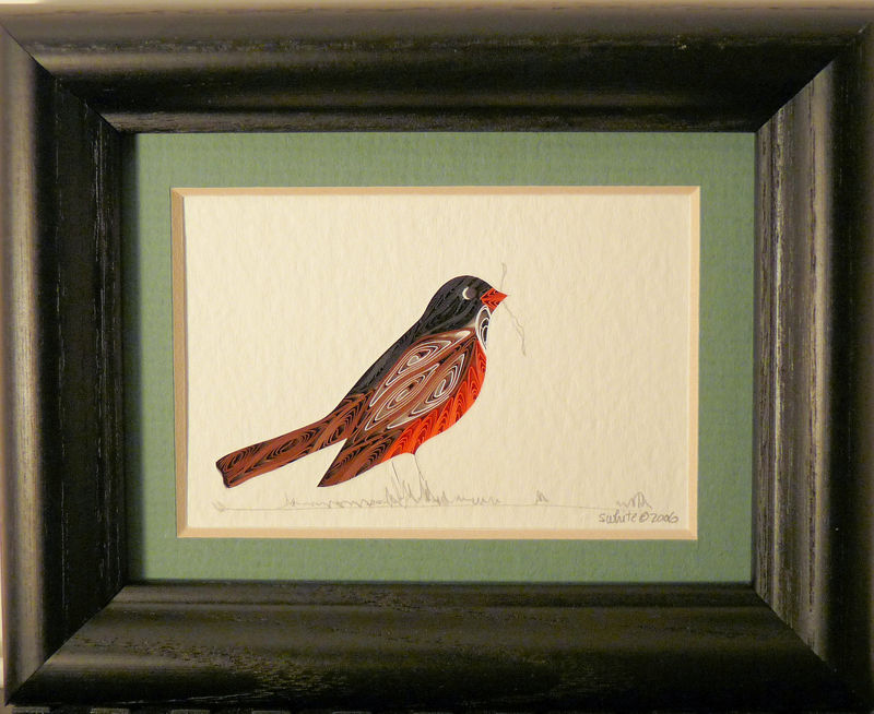 Quilled Little One Robin Bookcase Art - product image