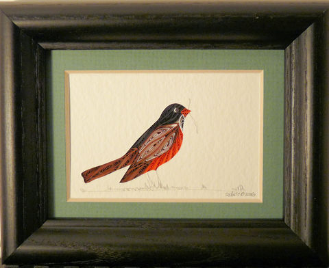 Quilled,Little,One,Robin,Bookcase,Art,quilling,quilled,wildlife,bird,robin,wall art,bookcase art,framed