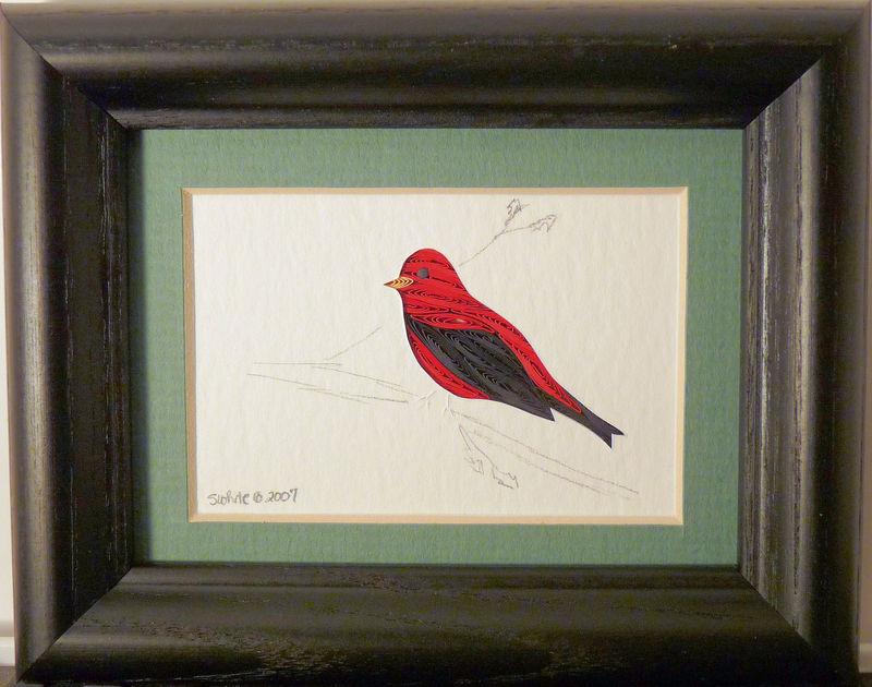Quilled Little One Scarlet Tanager Bookcase Art - product image