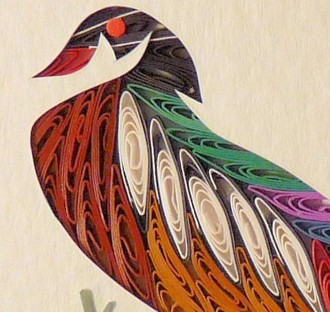 Quilled,Little,One,WoodDuck,Bookcase,Art,quilling,quilled,wildlife,duck,woodduck,wall art,bookcase art,framed