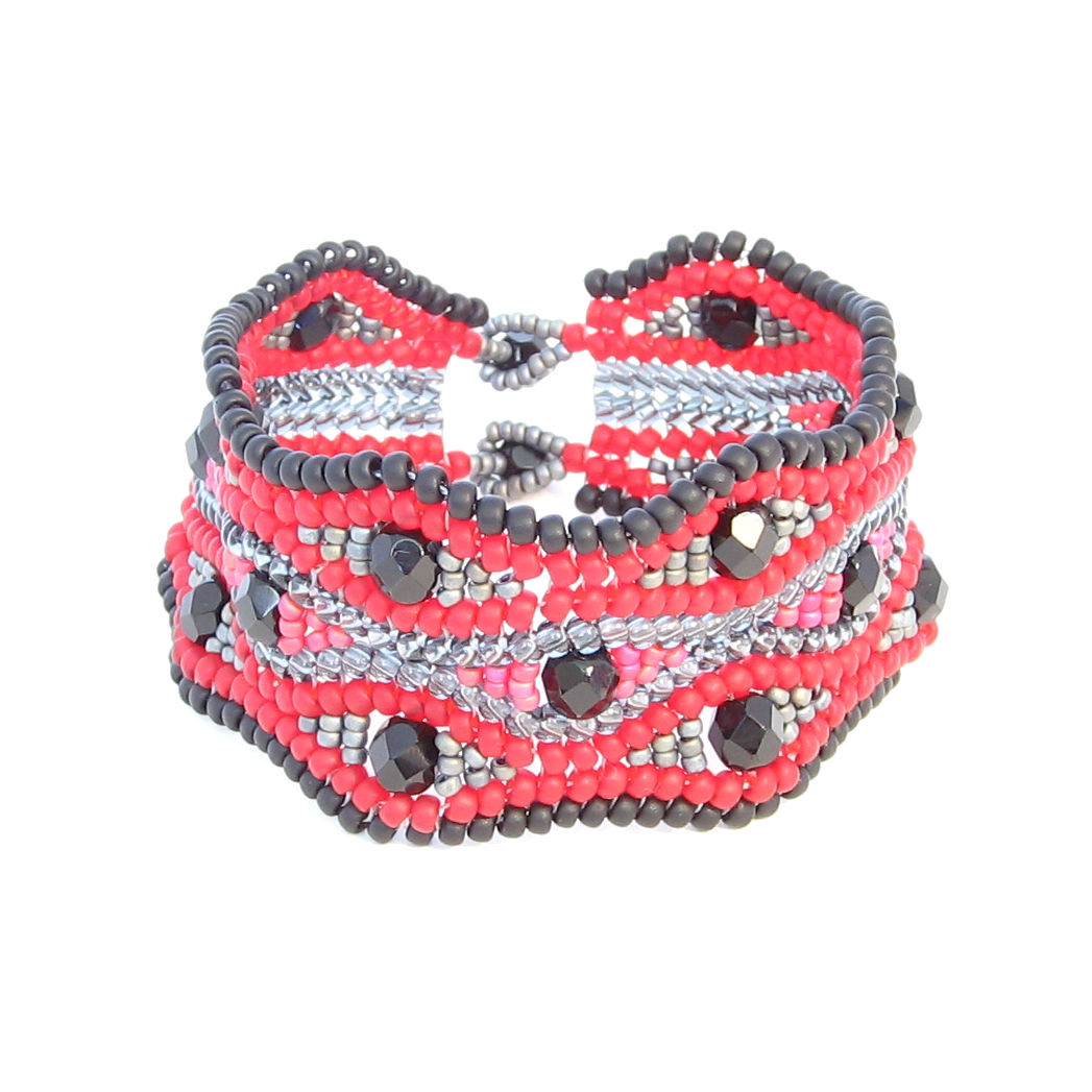Black, Red & Grey Crystal Cuff Bracelet - product images  of