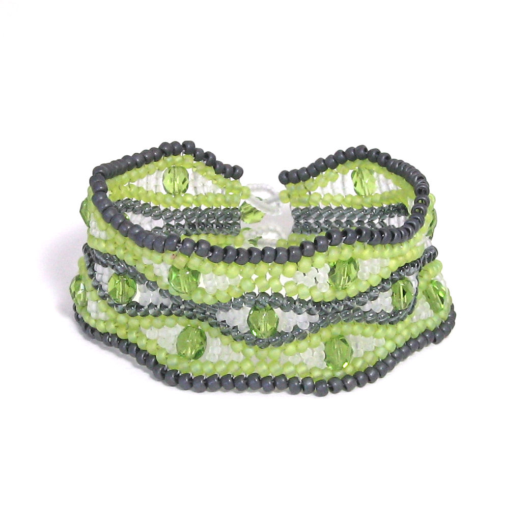Lime, Grey & White Crystal Cuff Bracelet - product images  of