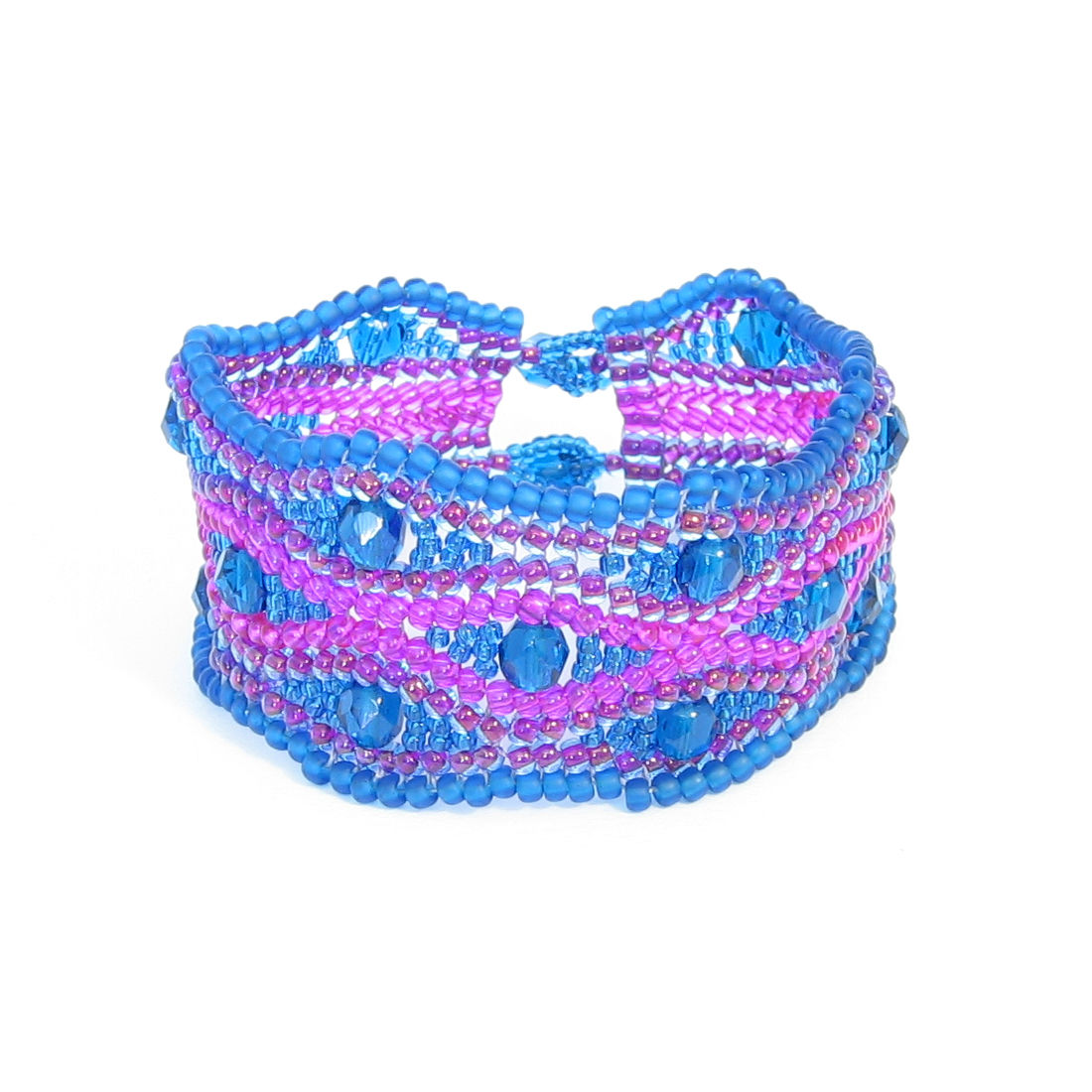 Hot Pink & Teal Blue Crystal Cuff Bracelet - product images  of