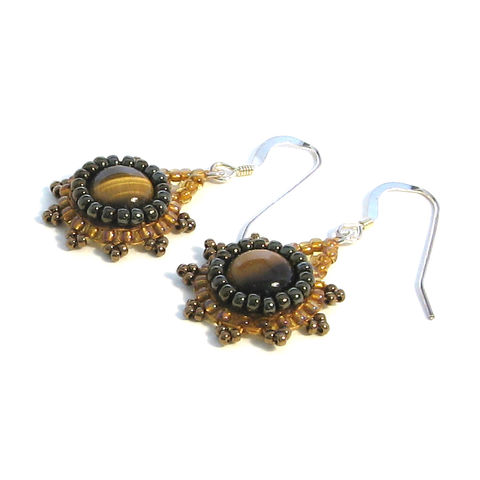 Tiger's,Eye,Cabochon,Pendant,Earrings,cabochon, pendant, earrings, semi-precious, seed bead, tiger's eye, beige, topaz, brown, handmade, jewellery, beadwoven, beadweaving, bead embroidery, carmel beads
