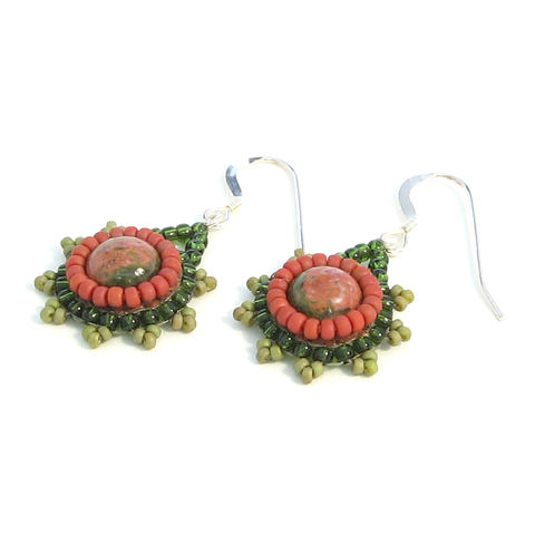 Unakite,Cabochon,Pendant,Earrings,cabochon, pendant, earrings, semi-precious, seed bead, unakite, beige, olive, green, terracotta, handmade, jewellery, beadwoven, beadweaving, bead embroidery, carmel beads