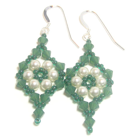 Green,and,Cream,Pearl,Crystal,Earrings,earrings, seed bead, crystal, pearl, Swarovski, emerald, green, cream, triangle weave, handmade, jewellery, beadwoven, beadweaving, carmel beads