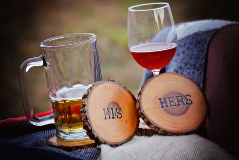 Wood,Burned,Oak,Coasters-,His,rustic, wood burned coaster