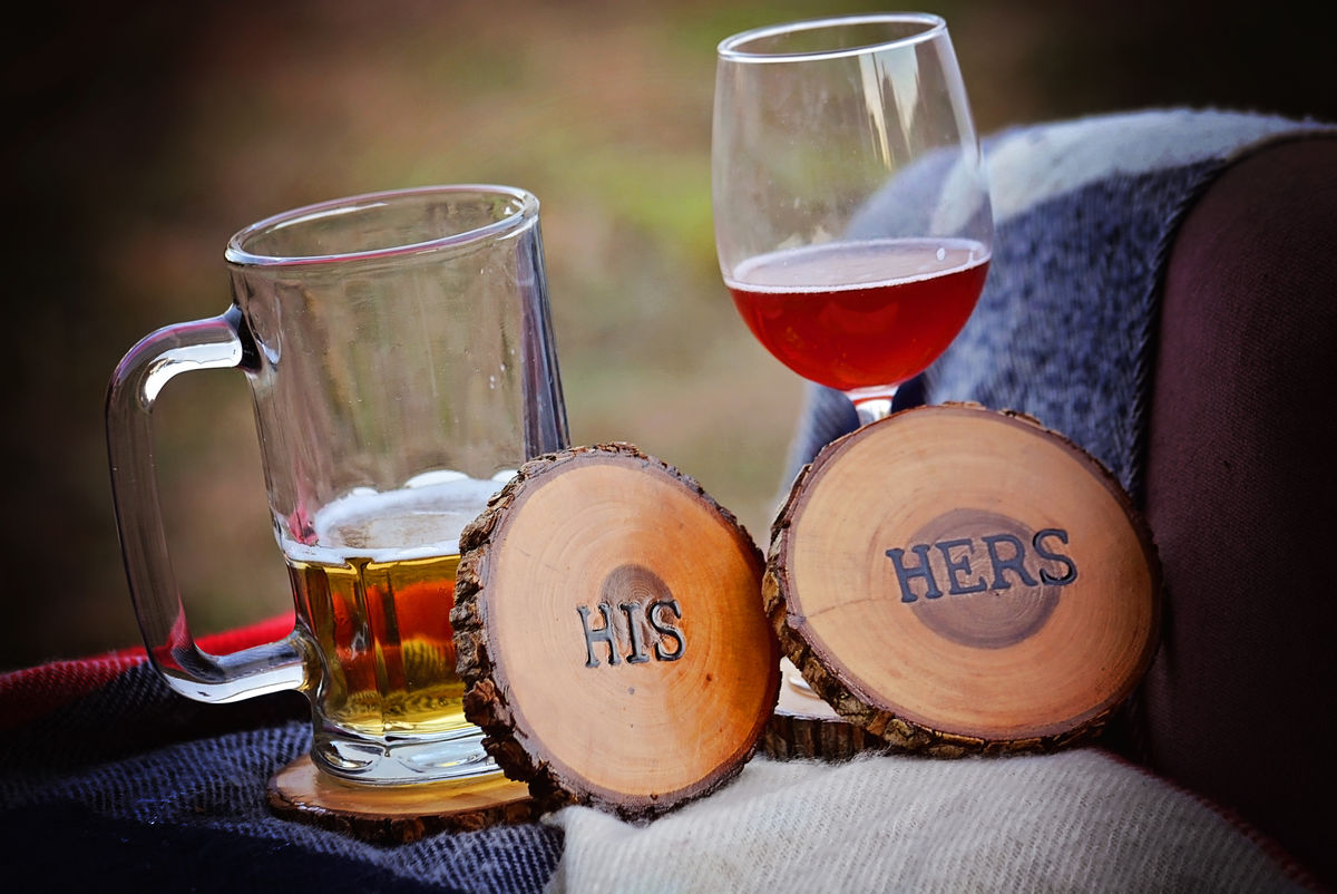 Wood Burned Oak Coasters- His - product images  of