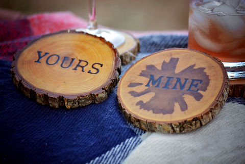Wood,Burned,Oak,Coasters-,Mine,rustic, wood burned coaster
