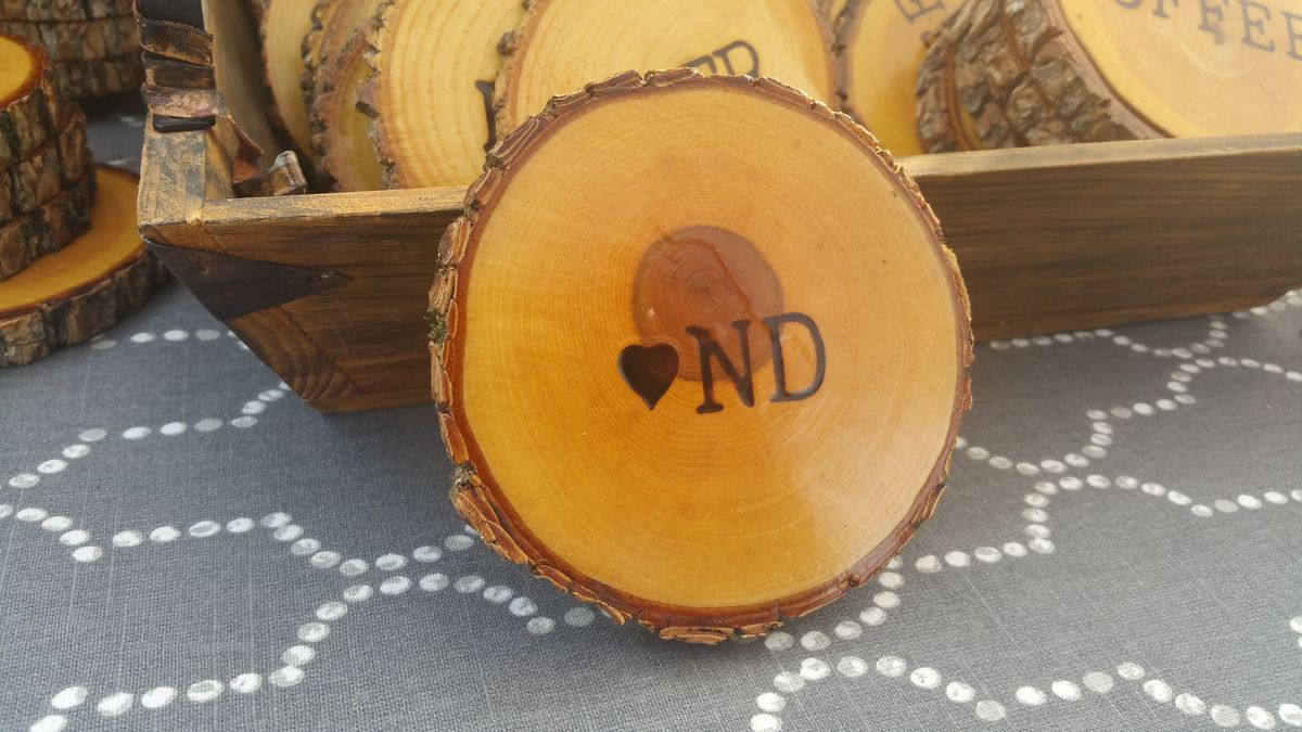 Wood Burned Oak Coasters- ♡ ND - product image