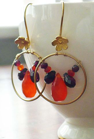 Orange,Carnelian,and,Garnet,Briolette,Earrings, Briolette, Earrings, Garnet