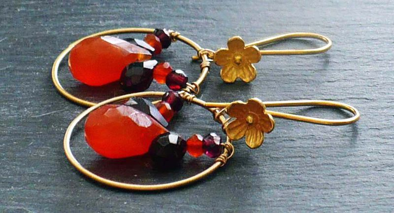 Orange Carnelian and Garnet Briolette Earrings - product image