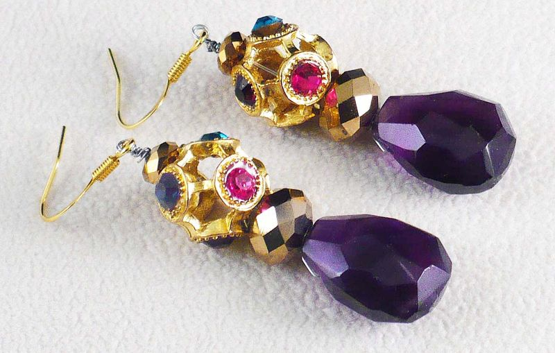 AAA Quality Dark Amethyst Briolette Dangle Earrings Multi-Color Crystals - product image