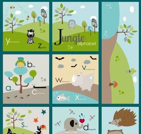 Fabric Panel Life In The Jungle Alphabet Baby Quilt Fabric Animals - product images  of