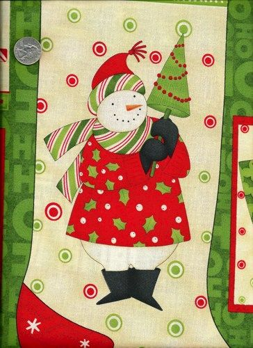 Christmas Fabric Panel Ho Ho Holiday Santa Snowman Mumm - product images  of