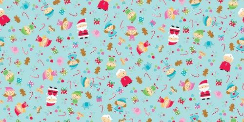 Cotton Quilt Fabric Christmas Santa's Workshop Elves Ginger Men Blue - product images  of