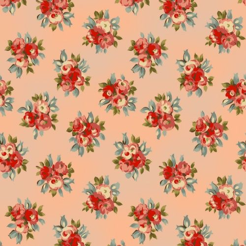 Cotton Quilt Fabric Avoncliff Peach Rose Floral R Pandolf  - product image