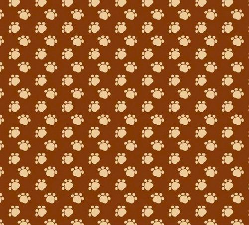 Cotton Quilt Fabric Paw Prints Brown Tan Fabric Cats Dogs Pet Lovers - product images  of