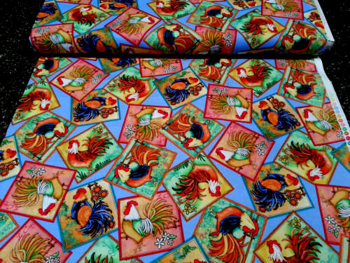 Cotton Quilt Fabric Morning Wake Up Rooster Chicken Blue - product images  of