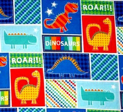 Cotton Quilt Fabric Dinosaur Roar Patches Red Green Blue Boys T Rex - product image