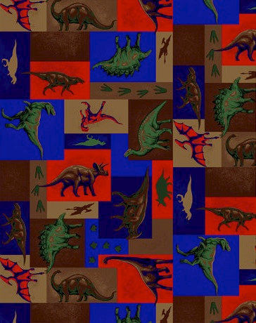 Cotton Quilt Fabric Dino Patch Dinosaurs T Rex Bronto Stego - product image