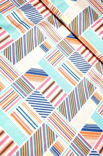 Cotton Quilt Fabric Blend Fabrics Hope Chest Pastel Vintage Stripes  Blocks White Multi  - product images  of