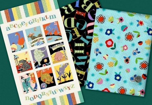 Easy Fabric Panel Quilt Kit Vintage Look Animal Alphabet Baby Quilt - product images  of