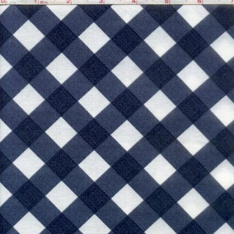 Cotton Quilt Fabric Denim Criss Cross Blue White Bias Gingham Check  - product images  of
