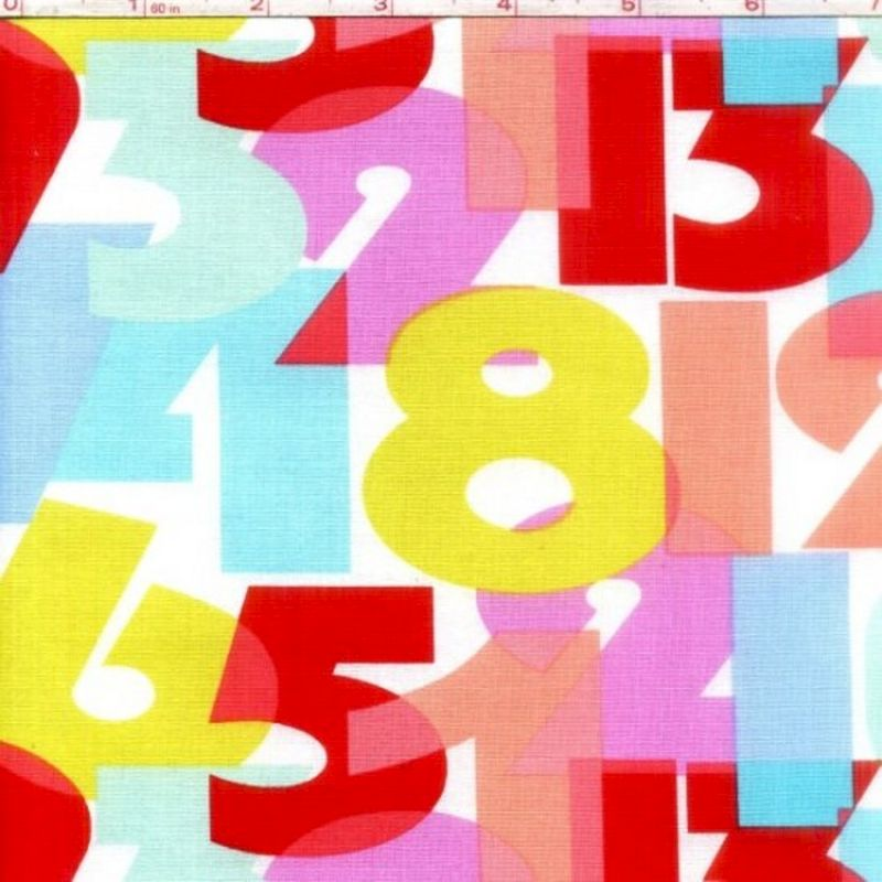 Cotton Quilt Fabric Numbers Aqua Baby Quilt Fabric Red Blue White  - product image