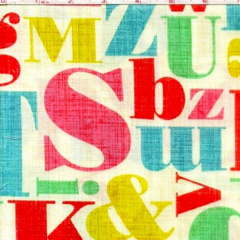 Cotton Quilt Fabric Letterpress Multi Alphabet Baby Quilts Cotton  - product images  of