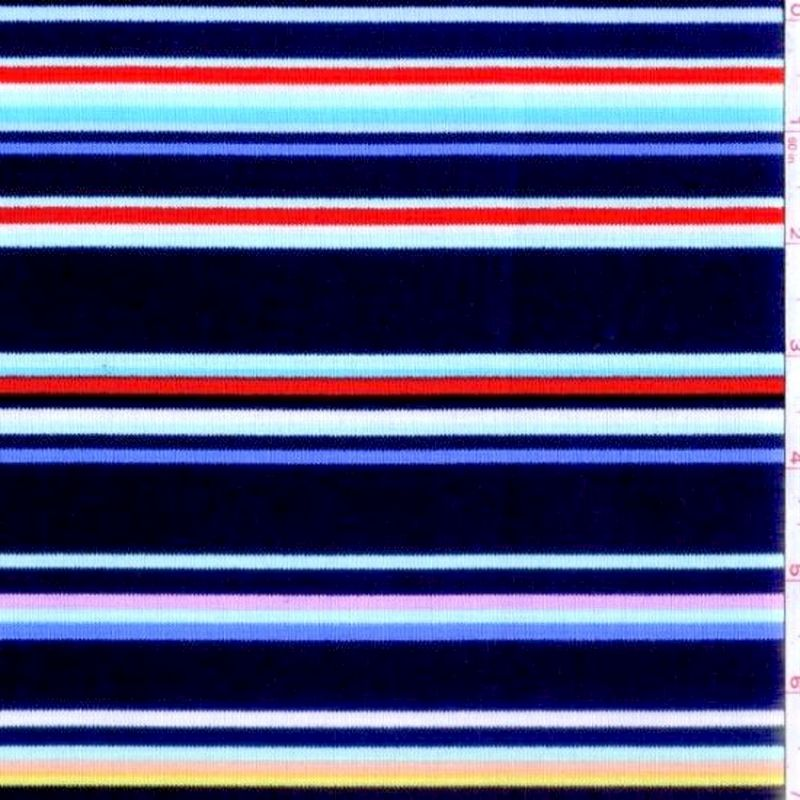 Cotton Quilt Fabric Stripes Michael Miller Navy Blue Multi Stripe  - product images  of