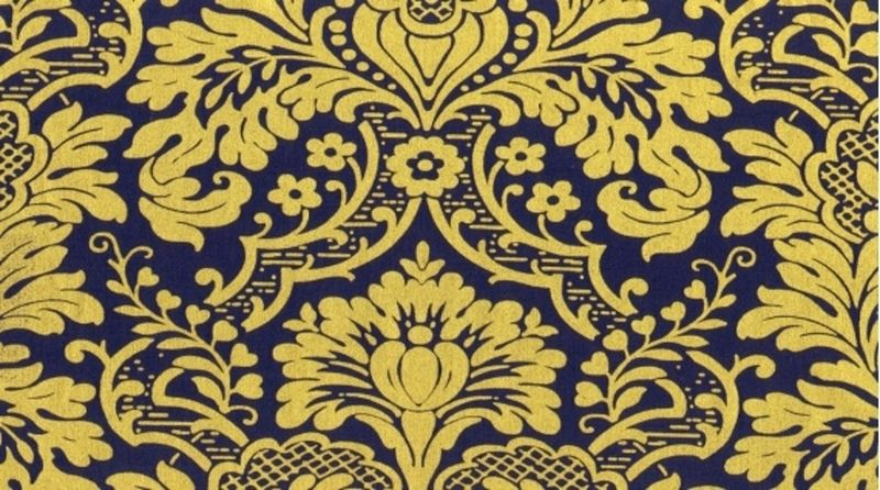 Cotton Quilt Fabric Dear Stella Gilt Trip Damask Navy Metallic - product images  of