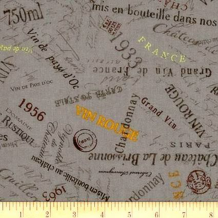 Cotton Quilt Fabric You Had Me At Merlot Wine Lovers Labels Grey  - product image