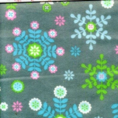 Cotton Quilt Fabric Flannel Winter Warmth Gray Snowflake Christmas - product images  of