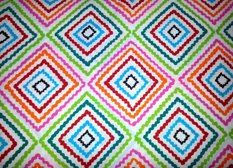 Cotton Quilt Fabric Diamond Zig Zag Bright Multi Colorful A Henry  - product image