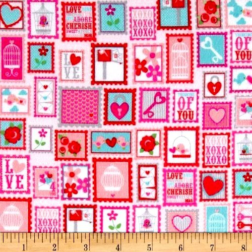 Cotton Quilt Fabric Flannel Lovey Dovey Stamps Pink  Hearts Roses Bird  - product images  of