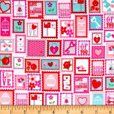 Cotton,Flannel,Quilt,Fabric,Lovey,Dovey,Stamps,Red,Hearts,Roses,Bird,quilt fabric,cotton material,sewing,crafts,quilting,online fabric,sale fabric