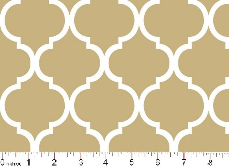 Cotton Quilt Fabric Colorful Quatrefoil Tan And White  - product image