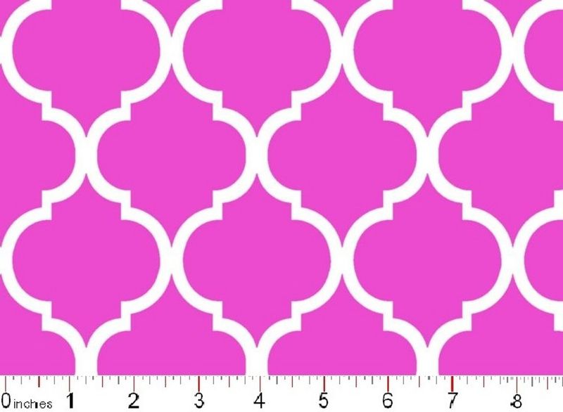 Cotton Quilt Fabric Colorful Quatrefoil White On Hot Pink  - product image