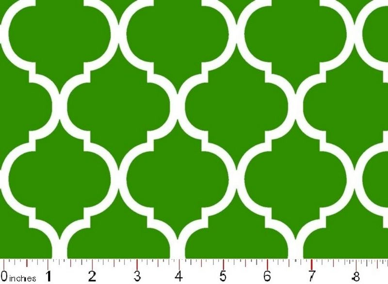 Cotton Quilt Fabric Colorful Quatrefoil Bright Green White   - product image