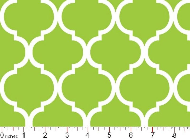 Good Buy Cotton Quilt Fabric Colorful Quatrefoil Spring Green White   - product image
