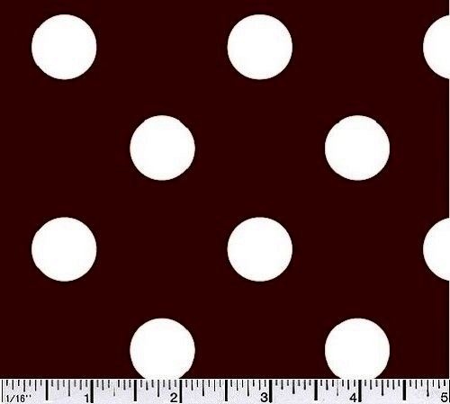 Cotton Quilt Fabric Big Dot Polka Dots Cocoa Brown And White Cotton  - product images  of