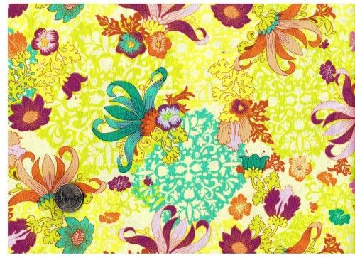 Cotton Quilt Fabric Gabrielle Lotus Fabric Lime Pink Floral  - product image