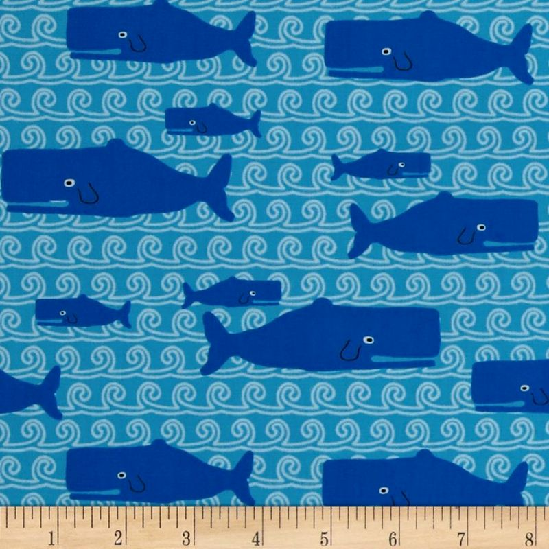 Cotton Quilt Fabric Don't Be Crabby Whales Ocean Blue Sea Waves - product image