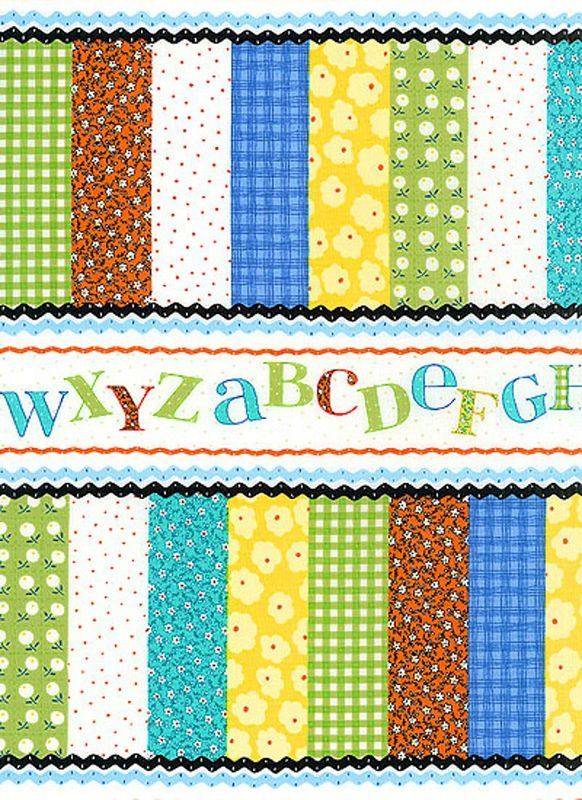 Cotton Quilt Fabric Patchwork Pals Alphabet Cheater Baby Quilt  - product image