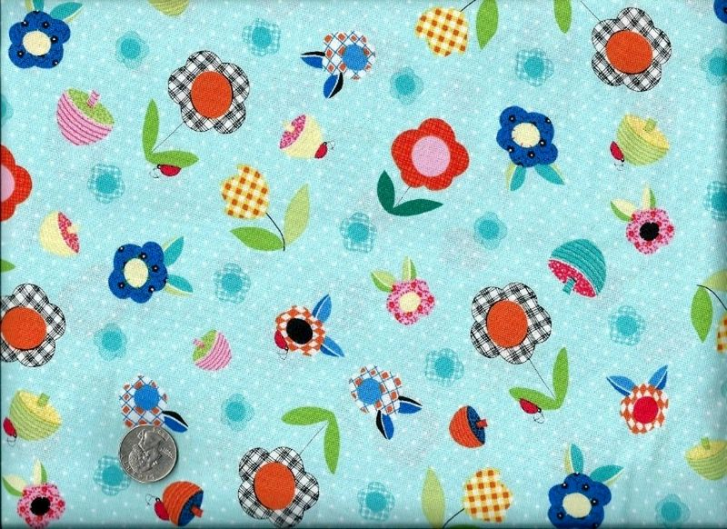 Cotton Quilt Fabric Patchwork Pals Floral Baby Aqua Blue  - product images  of
