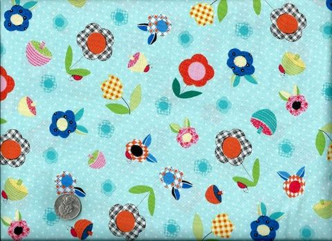Cotton,Quilt,Fabric,Patchwork,Pals,Floral,Baby,Aqua,Blue,quilt fabric,cotton material,auntie chris quilt,sewing,crafts,quilting,online fabric,sale fabric