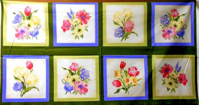 1 Panel Quilt Fabric Spring Spectacular Floral Blocks Pillow Wallhangings - product images  of